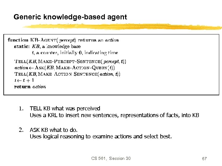 Generic knowledge-based agent 1. TELL KB what was perceived Uses a KRL to insert