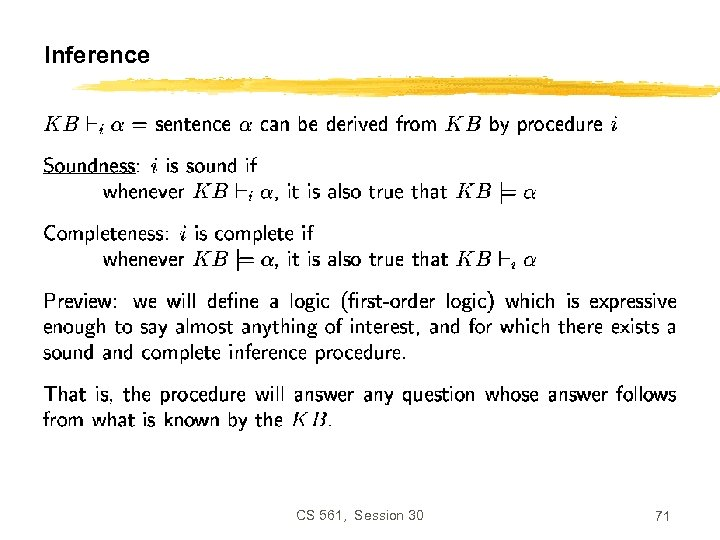 Inference CS 561, Session 30 71
