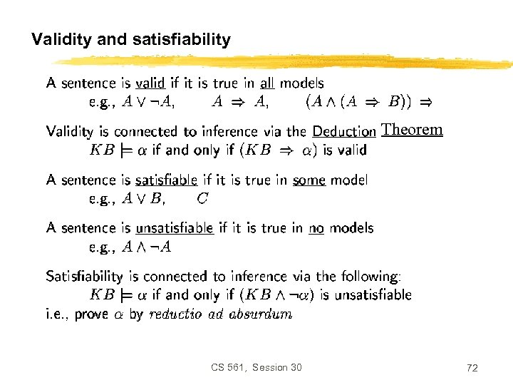 Validity and satisfiability Theorem CS 561, Session 30 72