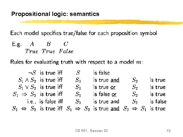 Propositional logic: semantics CS 561, Session 30 73