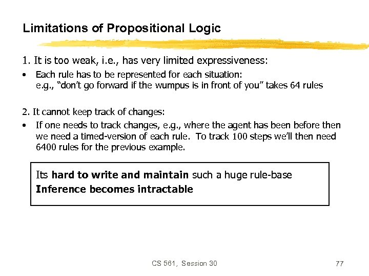 Limitations of Propositional Logic 1. It is too weak, i. e. , has very