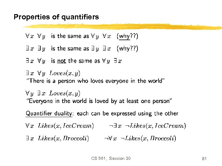 Properties of quantifiers CS 561, Session 30 81