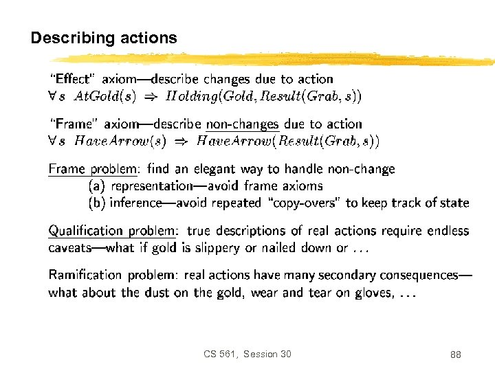 Describing actions CS 561, Session 30 88