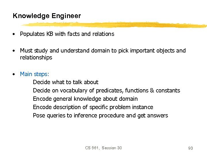 Knowledge Engineer • Populates KB with facts and relations • Must study and understand