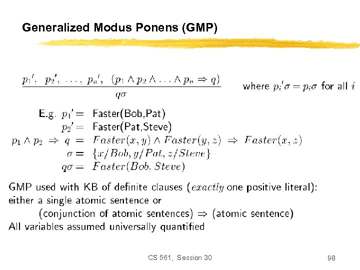 Generalized Modus Ponens (GMP) CS 561, Session 30 98