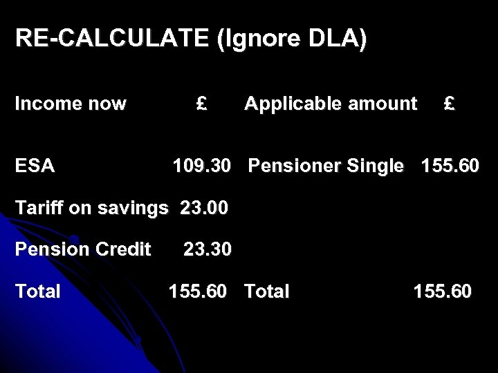 RE-CALCULATE (Ignore DLA) Income now ESA £ Applicable amount £ 109. 30 Pensioner Single