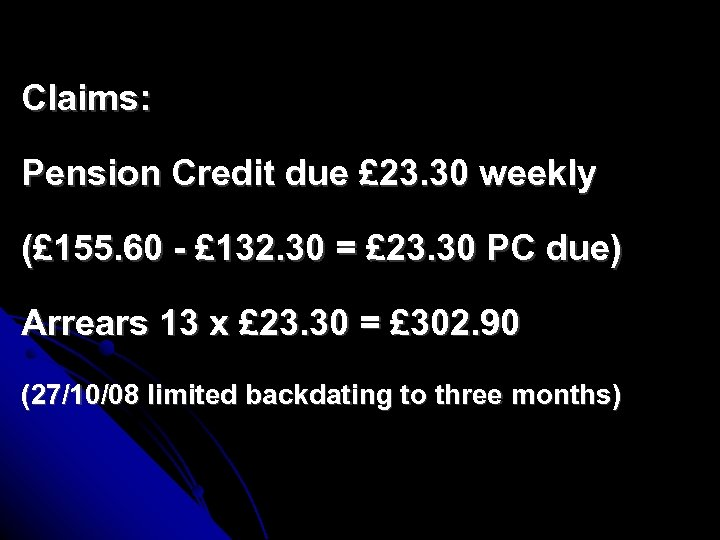 Claims: Pension Credit due £ 23. 30 weekly (£ 155. 60 - £ 132.