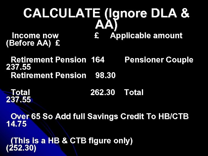 CALCULATE (Ignore DLA & AA) Income now (Before AA) £ £ Applicable amount Retirement