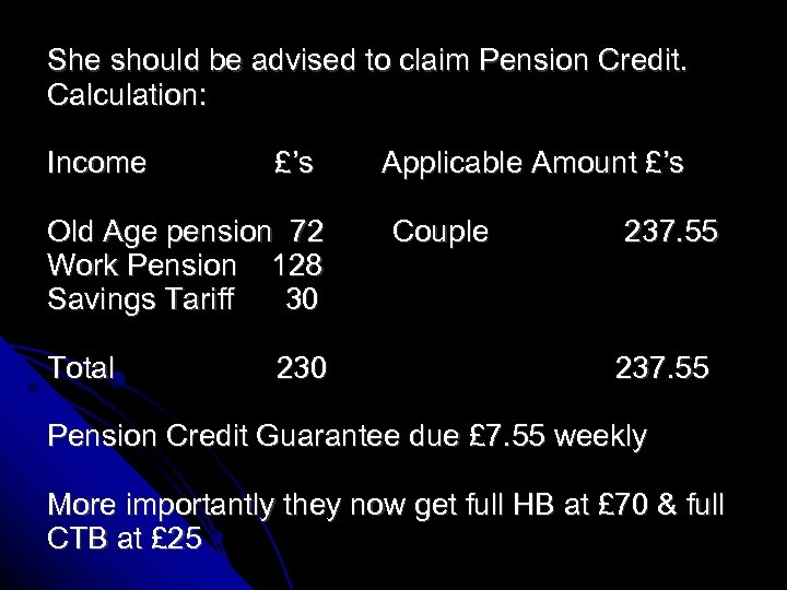 She should be advised to claim Pension Credit. Calculation: Income £'s Old Age pension