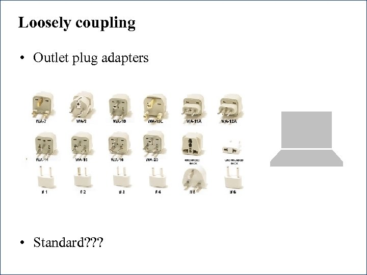 Loosely coupling • Outlet plug adapters • Standard? ? ? 36