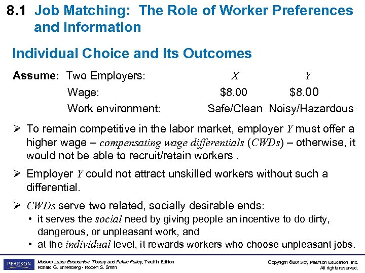 8. 1 Job Matching: The Role of Worker Preferences and Information Individual Choice and