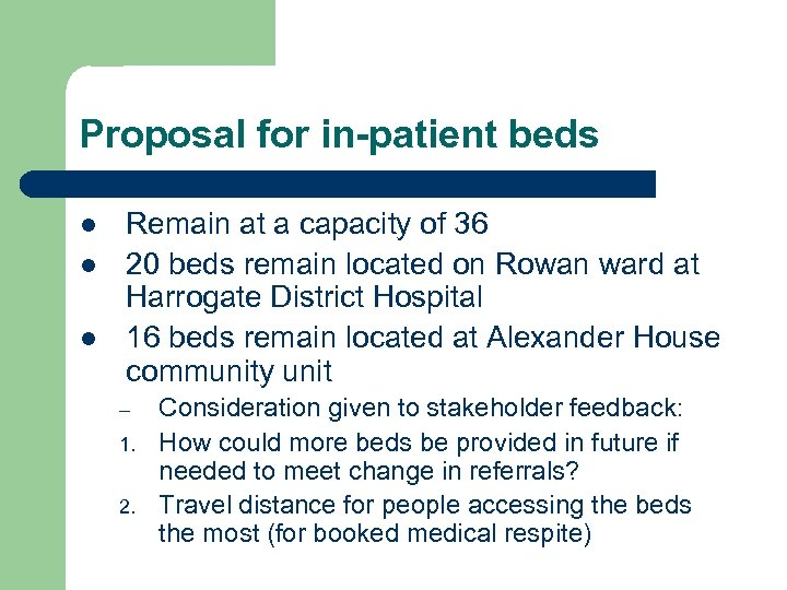 Proposal for in-patient beds l l l Remain at a capacity of 36 20