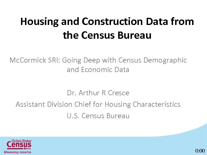 Housing and Construction Data from the Census Bureau Mc. Cormick SRI: Going Deep with