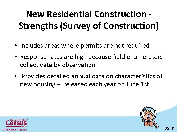 New Residential Construction Strengths (Survey of Construction) • Includes areas where permits are not