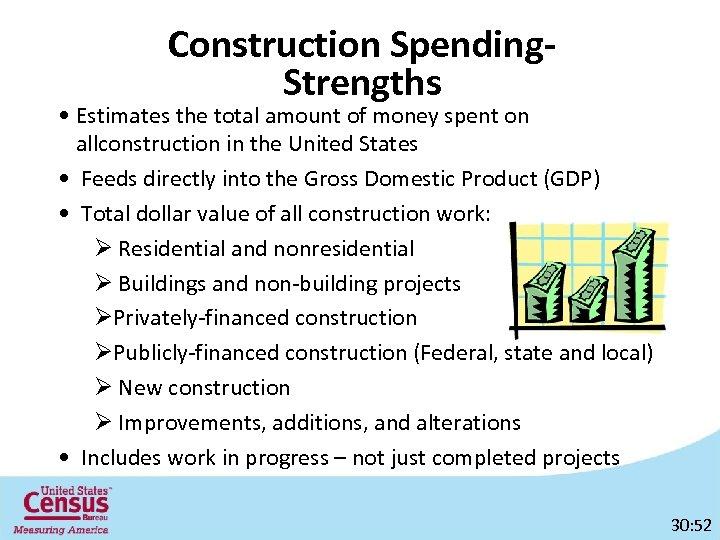 Construction Spending. Strengths • Estimates the total amount of money spent on allconstruction in
