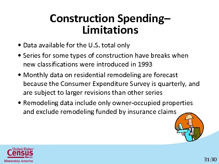 Construction Spending– Limitations • Data available for the U. S. total only • Series