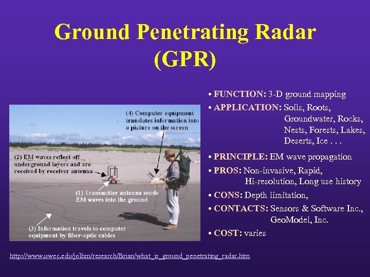 Ground Penetrating Radar (GPR) • FUNCTION: 3 -D ground mapping • APPLICATION: Soils, Roots,
