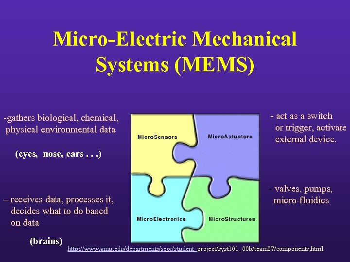 Micro-Electric Mechanical Systems (MEMS) -gathers biological, chemical, physical environmental data - act as a