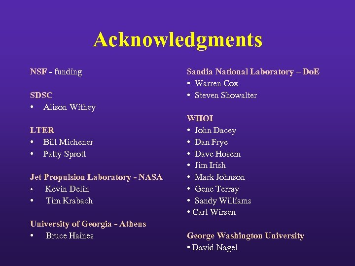 Acknowledgments NSF - funding SDSC • Alison Withey LTER • Bill Michener • Patty
