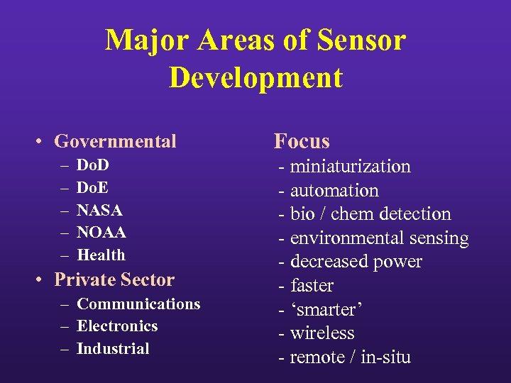 Major Areas of Sensor Development • Governmental – – – Do. D Do. E