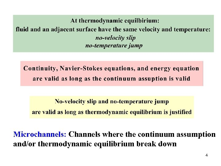 Microchannels: Channels where the continuum assumption and/or thermodynamic equilibrium break down 4