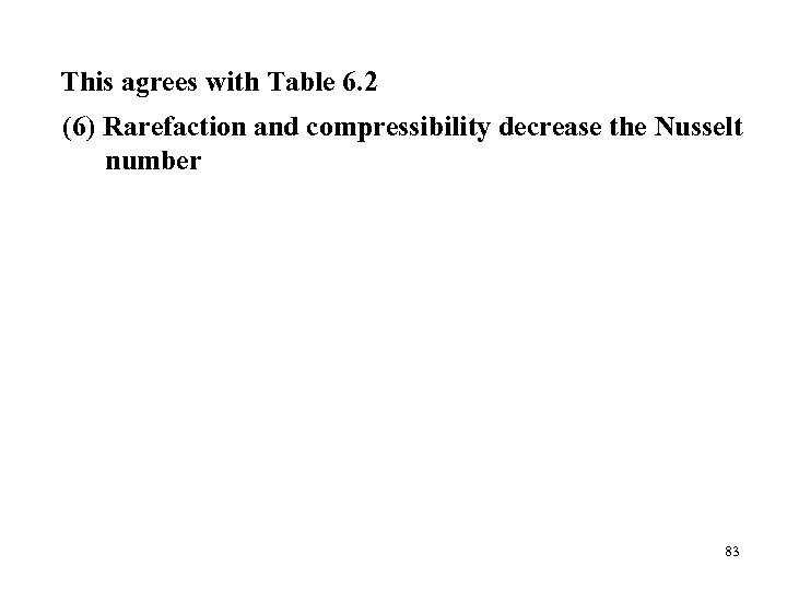 This agrees with Table 6. 2 (6) Rarefaction and compressibility decrease the Nusselt number