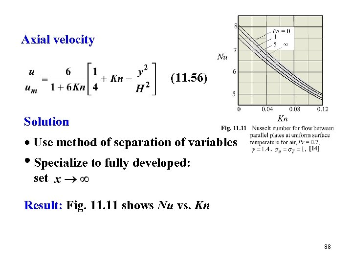 Axial velocity (11. 56) Solution Use method of separation of variables • Specialize to