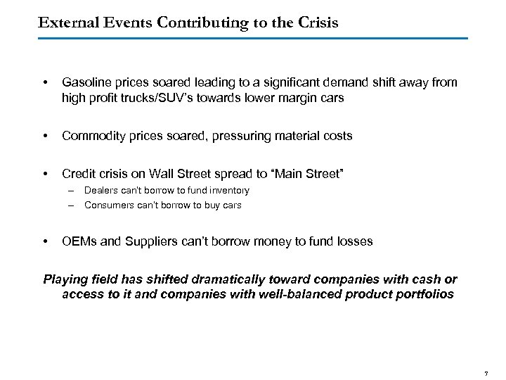 External Events Contributing to the Crisis • Gasoline prices soared leading to a significant