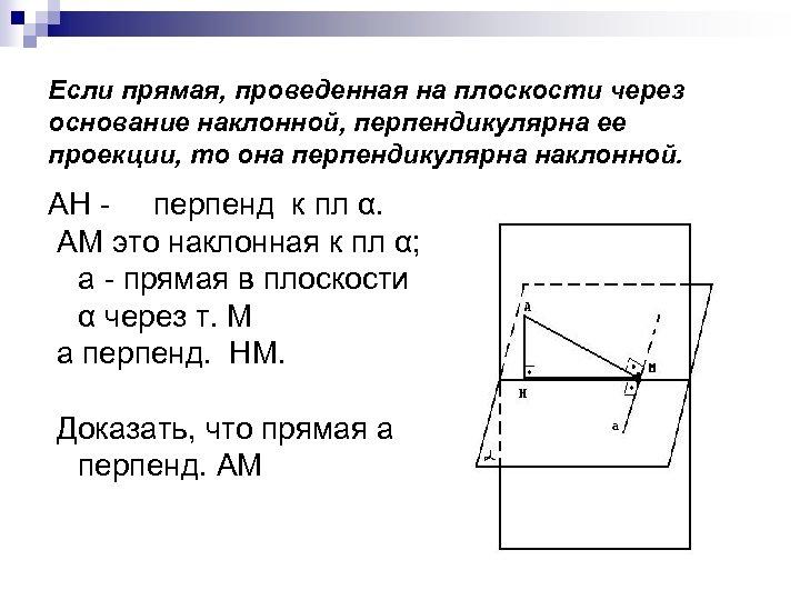 Если прямая, проведенная на плоскости через основание наклонной, перпендикулярна ее проекции, то она перпендикулярна