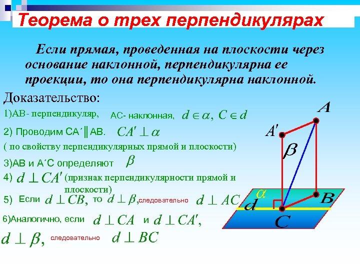 Теорема о трех перпендикулярах Если прямая, проведенная на плоскости через основание наклонной, перпендикулярна ее