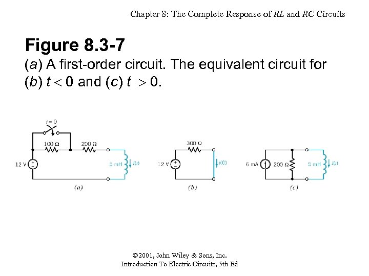 Chapter 8: The Complete Response of RL and RC Circuits Figure 8. 3 -7