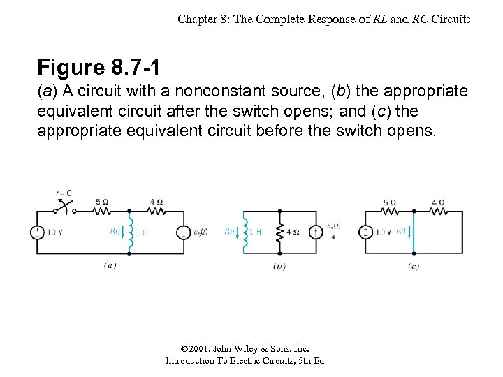 Chapter 8: The Complete Response of RL and RC Circuits Figure 8. 7 -1