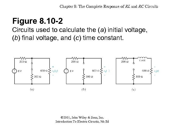 Chapter 8: The Complete Response of RL and RC Circuits Figure 8. 10 -2