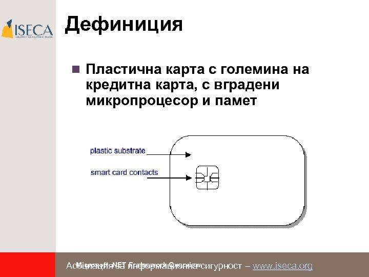Дефиниция n Пластична карта с големина на кредитна карта, с вградени микропроцесор и памет