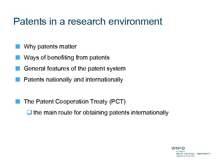 Patents in a research environment Why patents matter Ways of benefiting from patents General