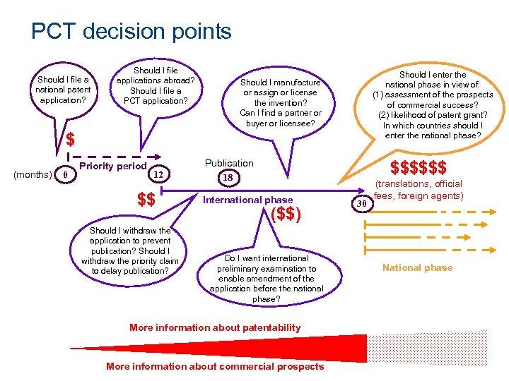 PCT decision points Should I file a national patent application? Should I file applications