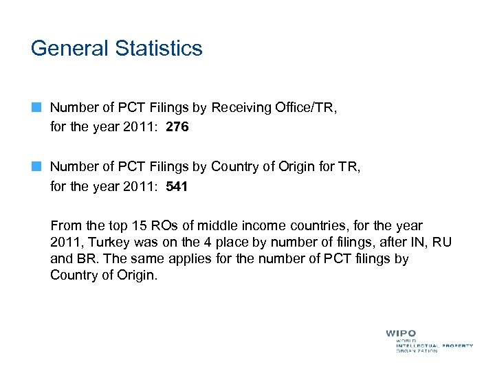 General Statistics Number of PCT Filings by Receiving Office/TR, for the year 2011: 276