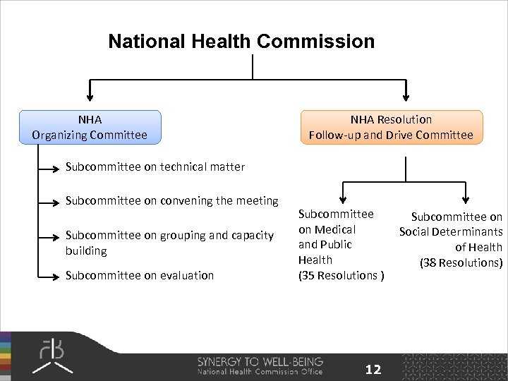 National Health Commission NHA Organizing Committee NHA Resolution Follow-up and Drive Committee Subcommittee on