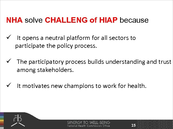NHA solve CHALLENG of HIAP because ü It opens a neutral platform for all