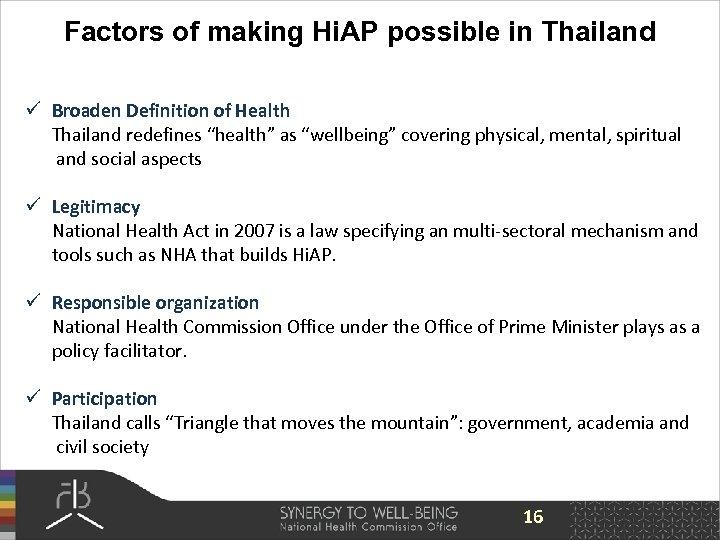 Factors of making Hi. AP possible in Thailand ü Broaden Definition of Health Thailand