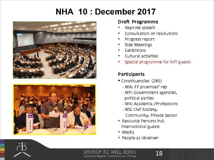 NHA 10 : December 2017 Draft Programme • • Keynote speech Consultation on resolutions