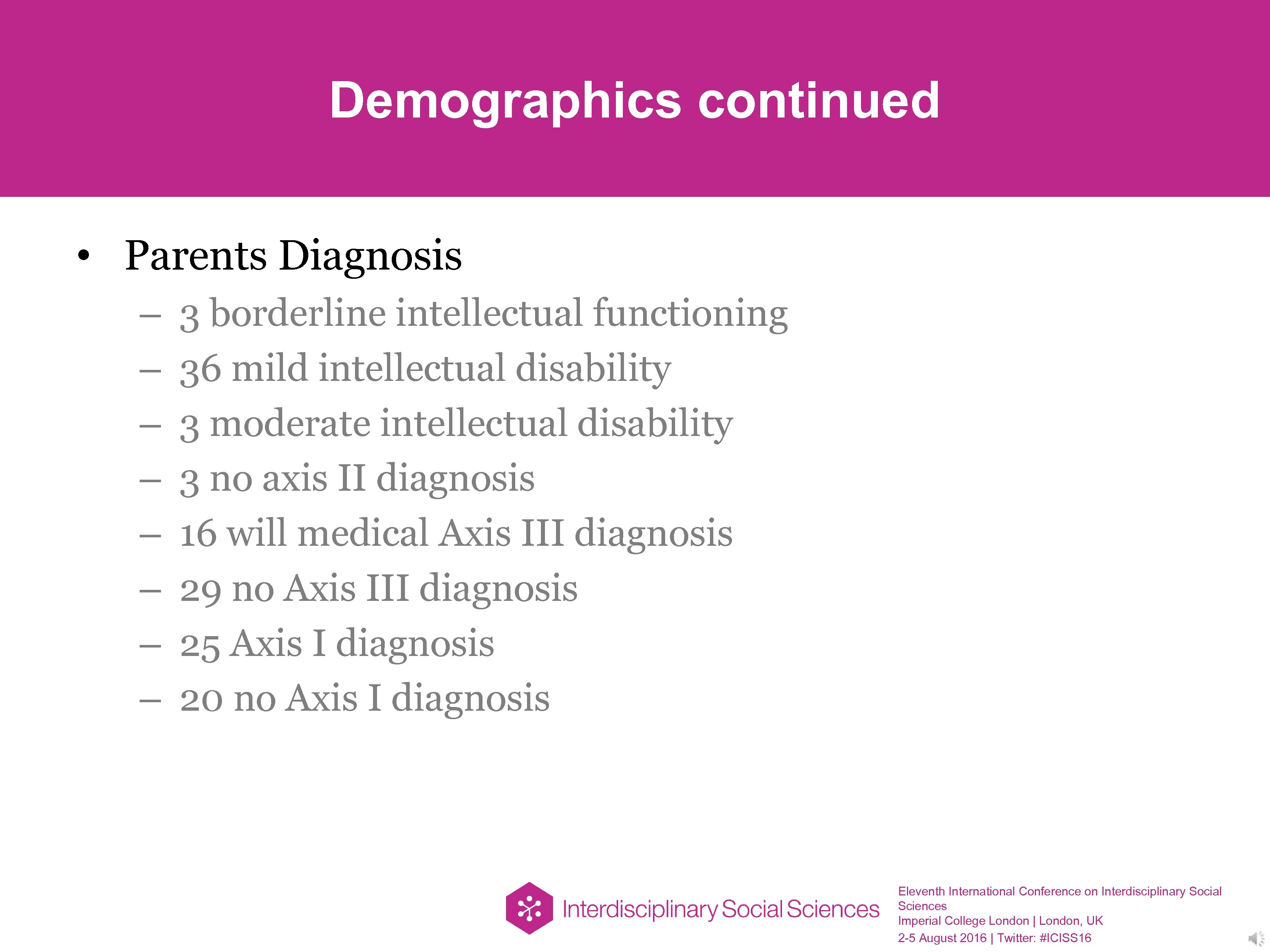 Demographics continued • Parents Diagnosis – – – – 3 borderline intellectual functioning 36