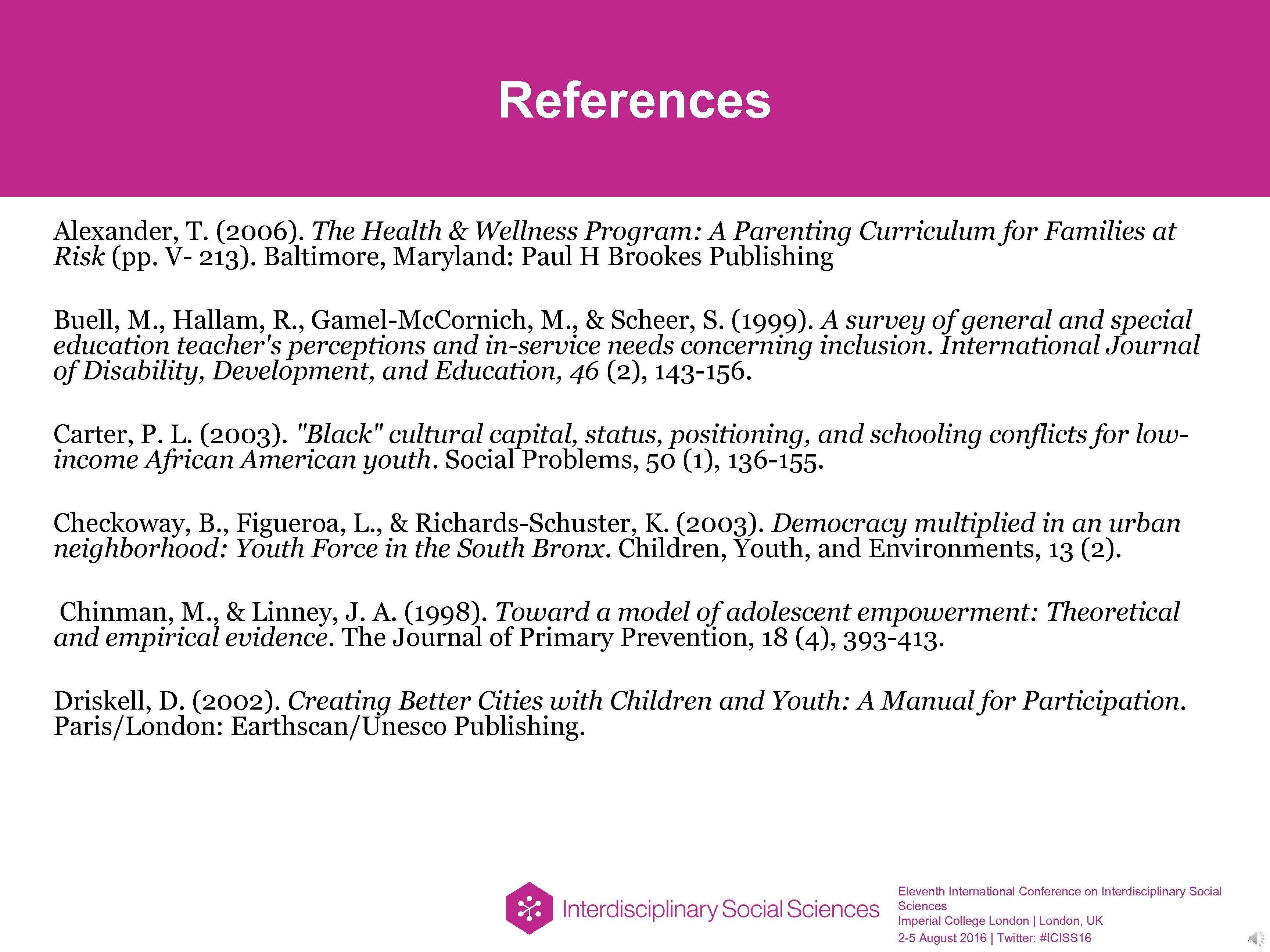 References Alexander, T. (2006). The Health & Wellness Program: A Parenting Curriculum for Families
