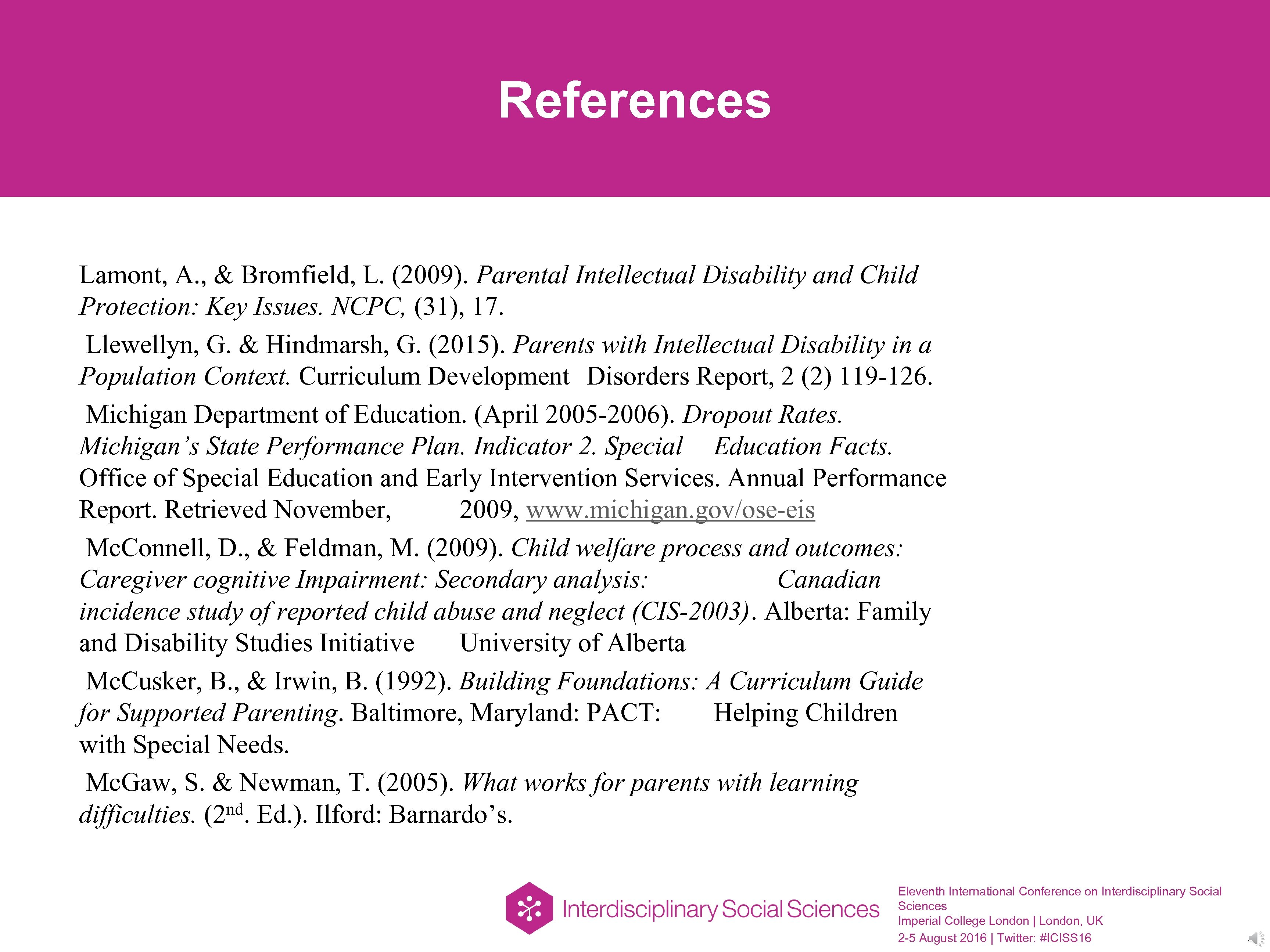 References Lamont, A. , & Bromfield, L. (2009). Parental Intellectual Disability and Child Protection: