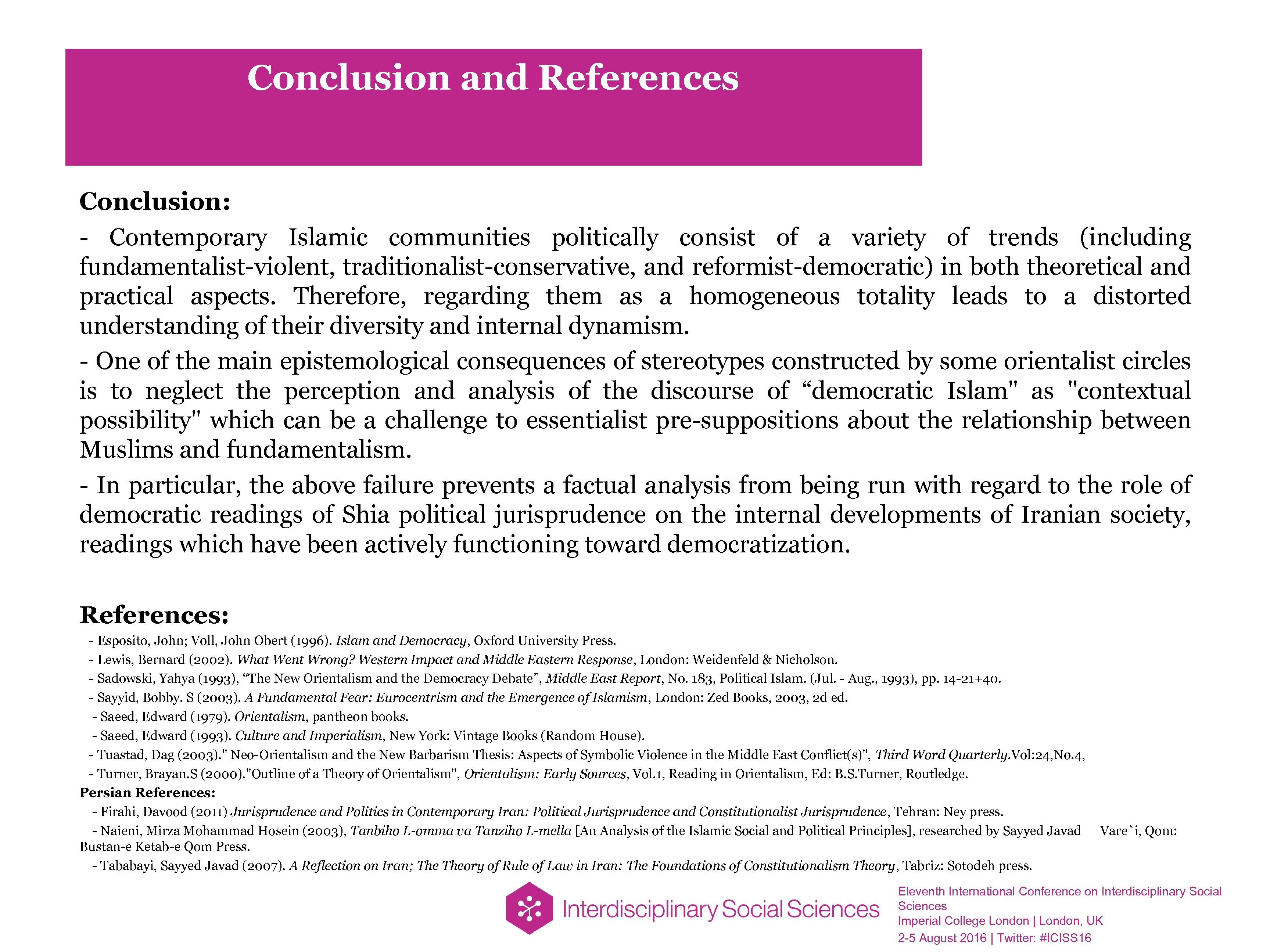 Conclusion and References Conclusion: - Contemporary Islamic communities politically consist of a variety of
