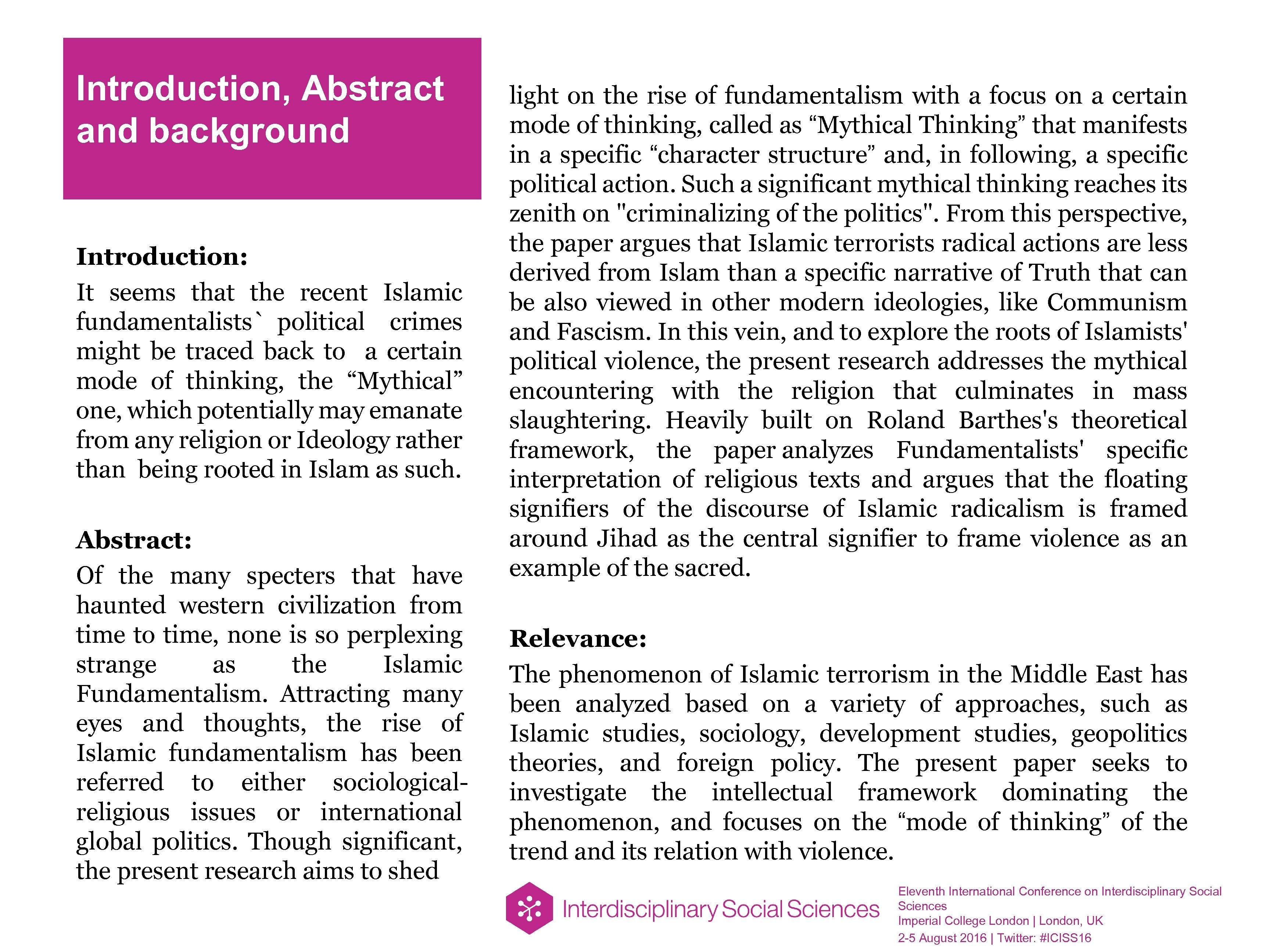 Introduction, Abstract and background Introduction: It seems that the recent Islamic fundamentalists` political crimes