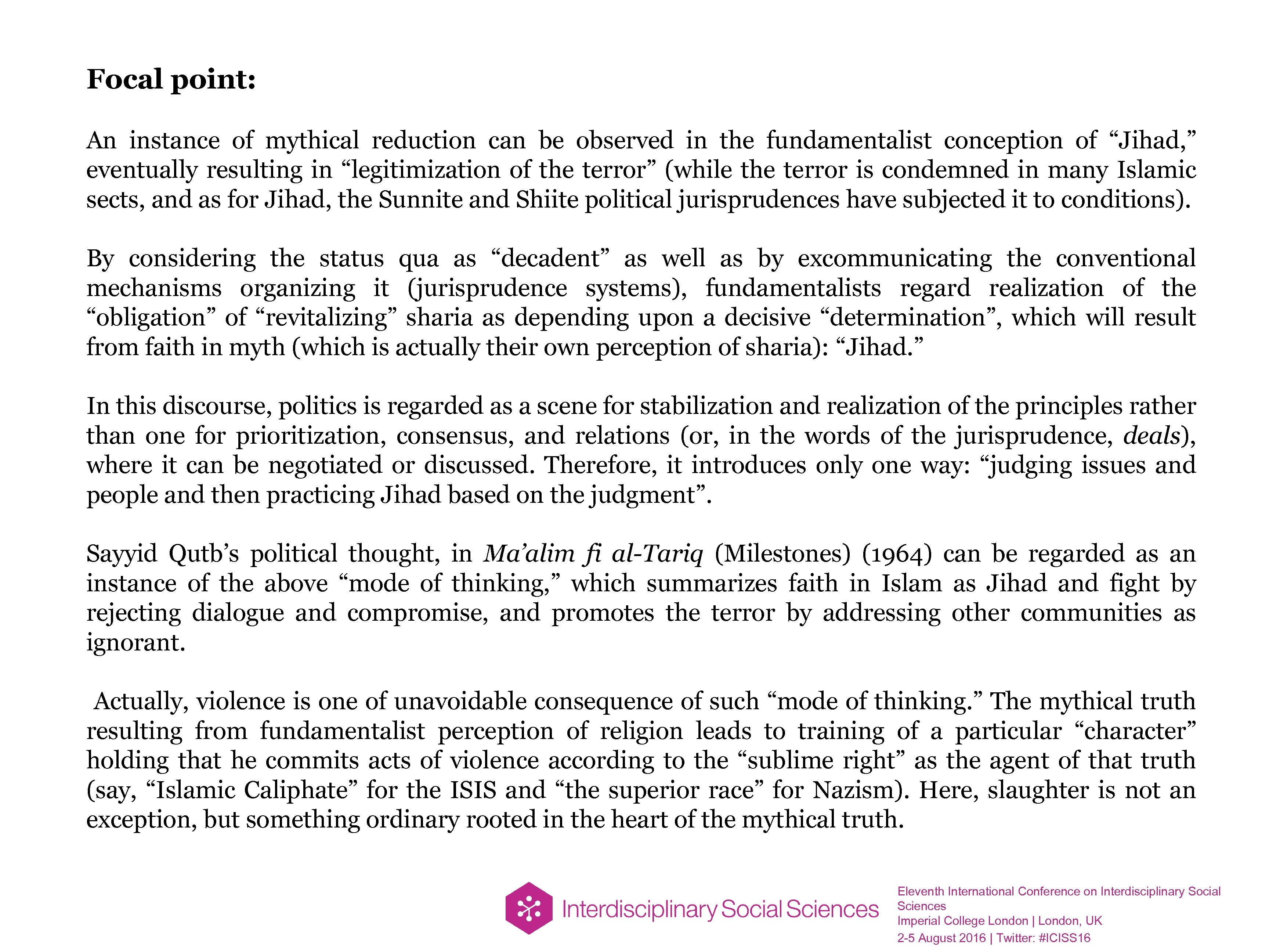 Focal point: An instance of mythical reduction can be observed in the fundamentalist conception