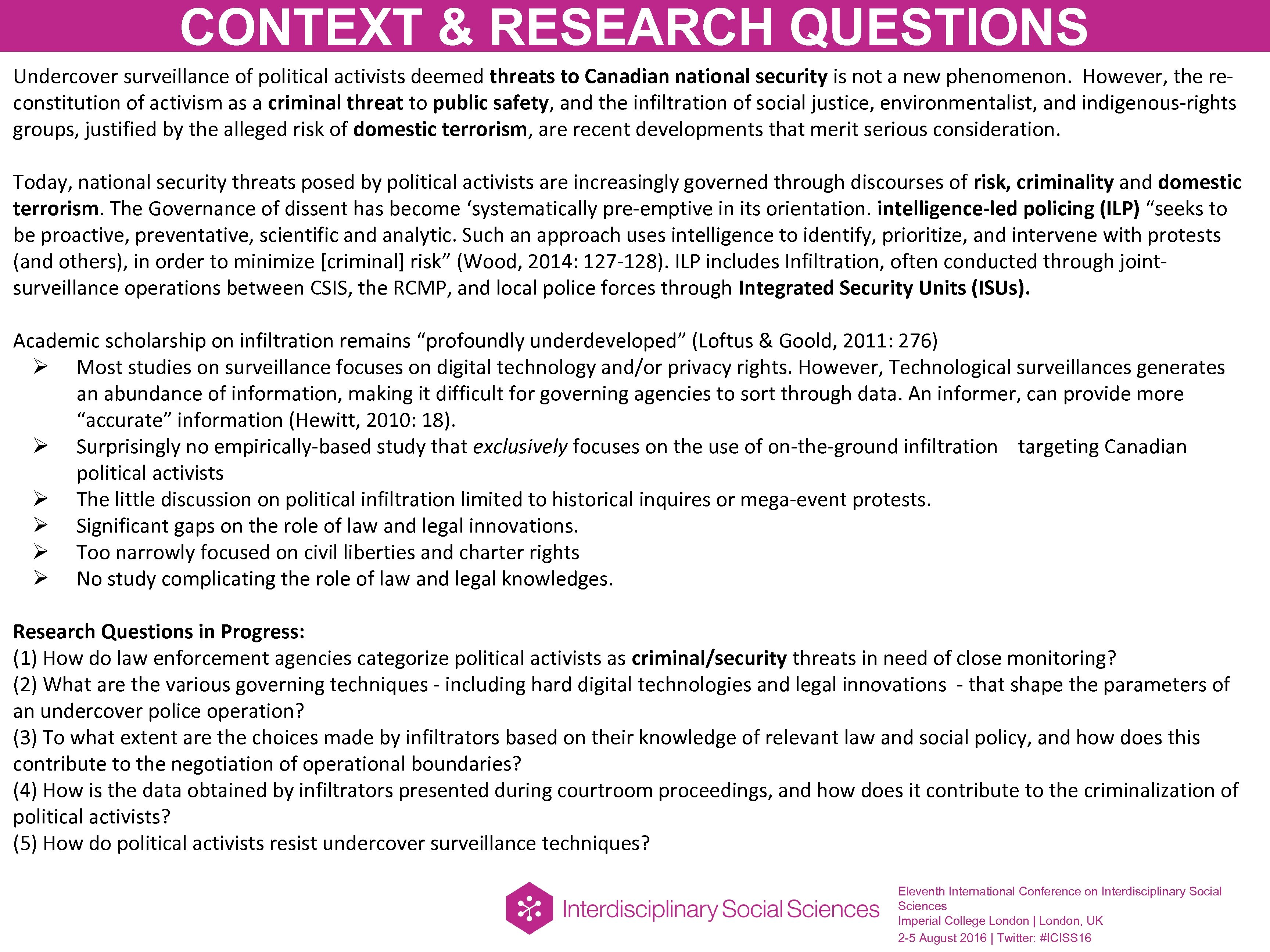 CONTEXT & RESEARCH QUESTIONS Undercover surveillance of political activists deemed threats to Canadian national