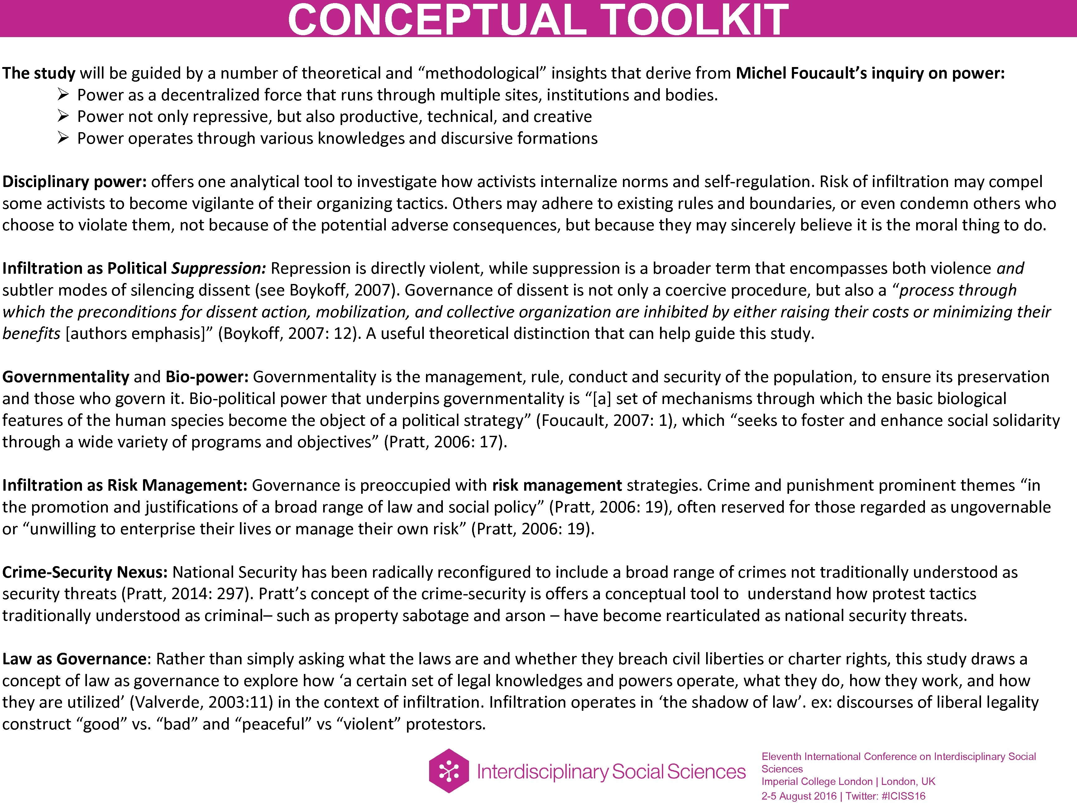 "CONCEPTUAL TOOLKIT The study will be guided by a number of theoretical and ""methodological"""