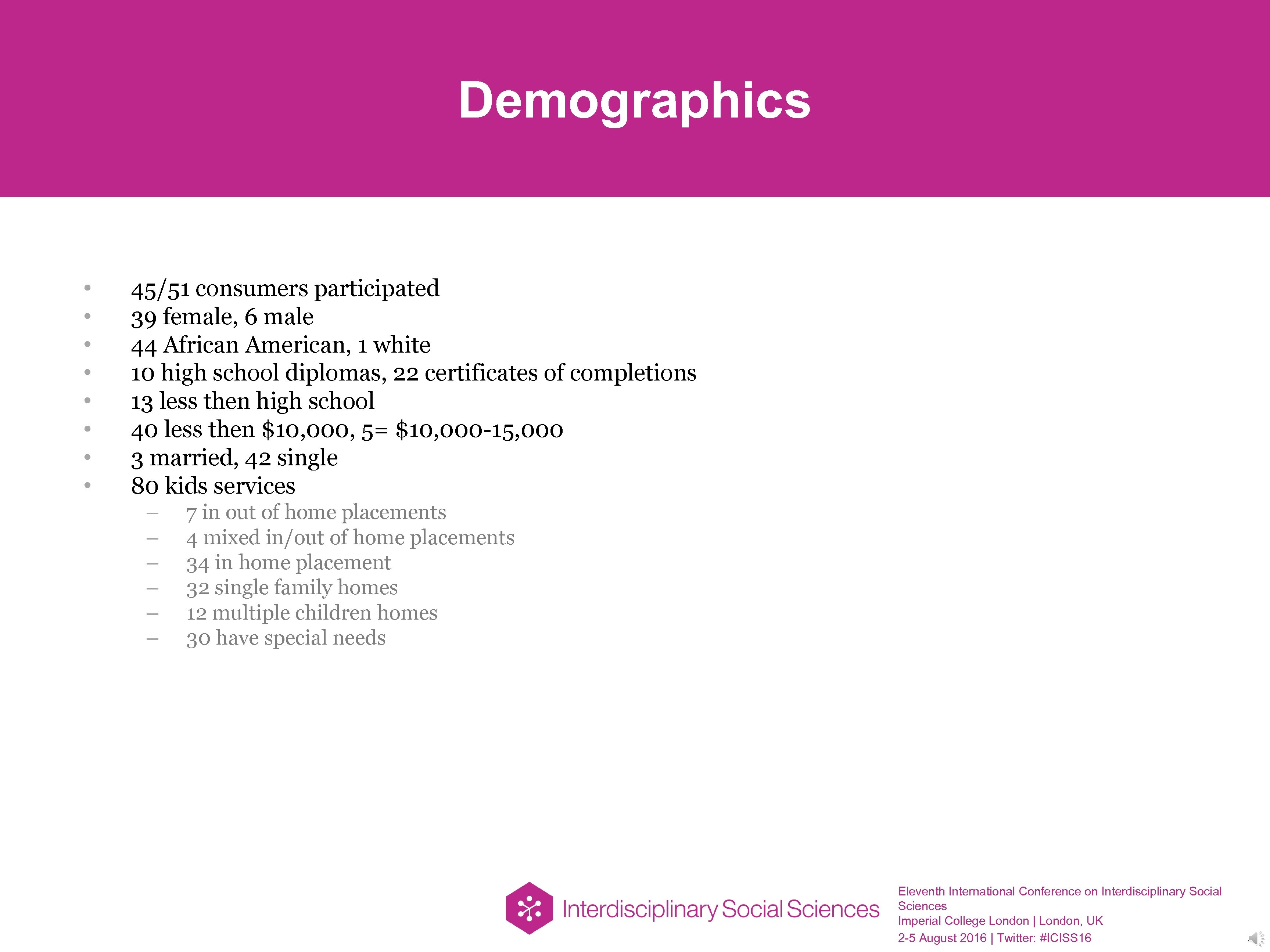 Demographics • • 45/51 consumers participated 39 female, 6 male 44 African American, 1
